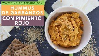 Hummus de garbanzos con pimiento rojo | Cómo hacer hummus sin tahini | Hummus casero