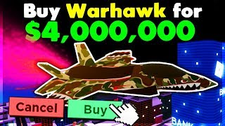 SPENDING $4,000,000 TO BUY THE *NEW* WARHAWK FIGHTER JET! | Roblox: Mad City (Update)