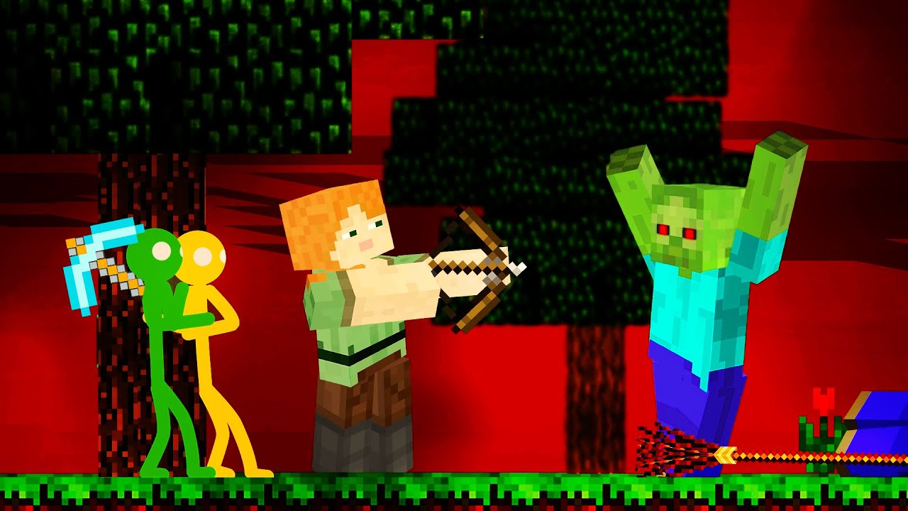 Stickman vs Zombie Apocalypse - Minecraft Animation