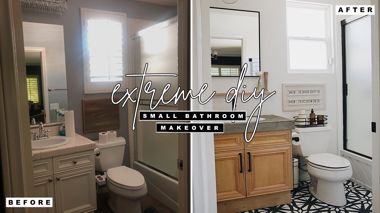 Extreme Diy Small Bathroom Makeover Youtube