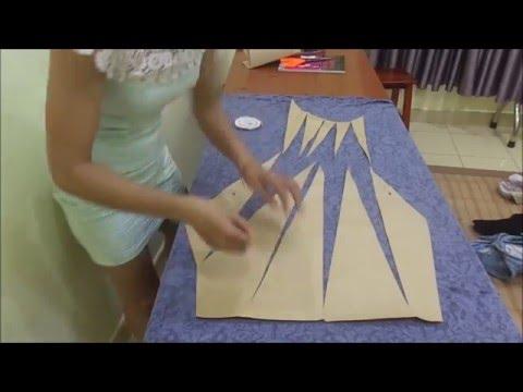 May đầm xoắn eo - phần 4  - cắt vải thân trước, phần dưới