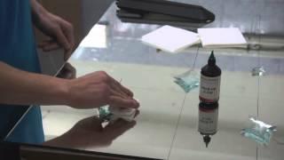 Наклейка фацетов с применением уф клея Спектр. UV adhesive Spektrum(Приклеиваем стеклянные фацеты на зеркало. Используем уф-клей
