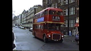 London Buses 1997-RM1 in service on route 2 at Victoria plus other Routemasters