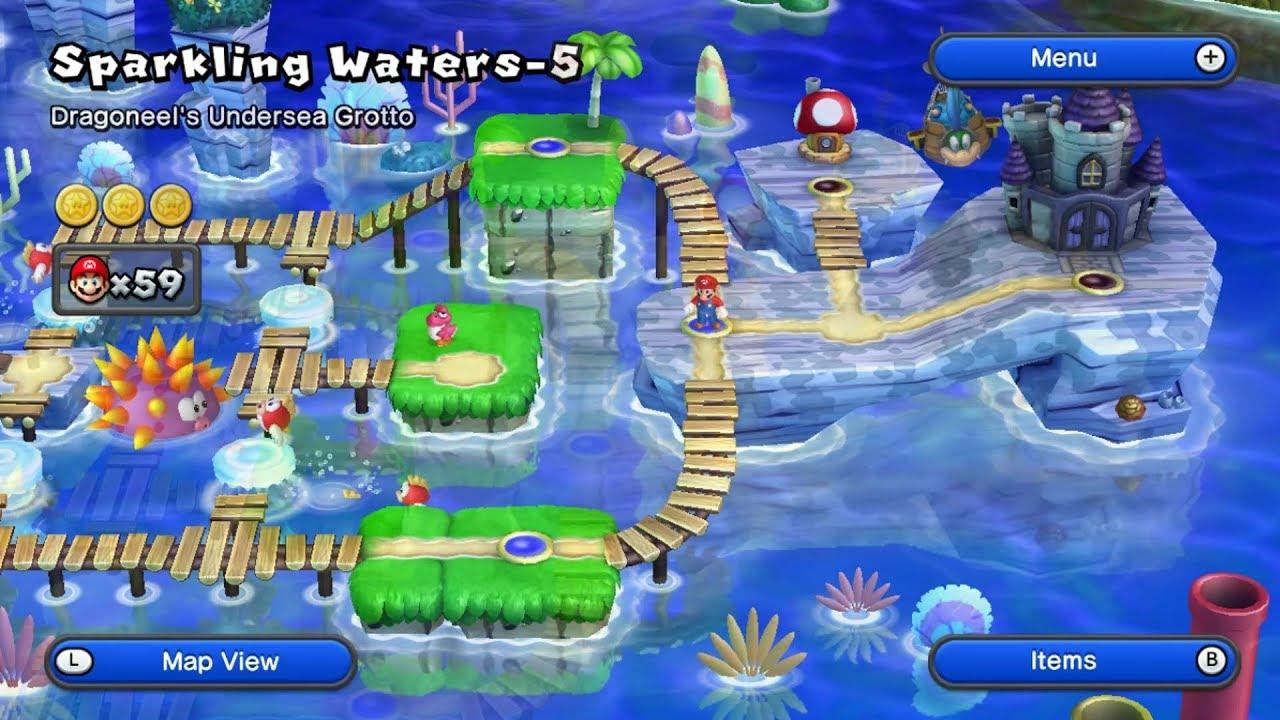 New Super Mario Bros U World 3 Sparkling Waters Full 100 Youtube