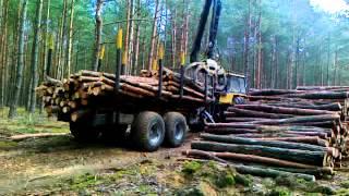 Zrywka drewna przyczepą Palms 700/142+Ursus 1614 cz.2