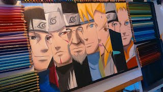 Drawing 7 HOKAGES - speed drawing Naruto (Shippuden)