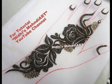 Gulf Style Thick Bold Floret Henna Mehndi Design Tutorial Youtube