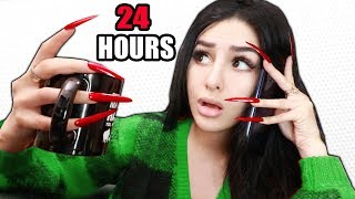 Download Wearing SUPER LONG ACRYLIC NAILS For 24 HOURS CHALLENGE! Mp3 and Videos
