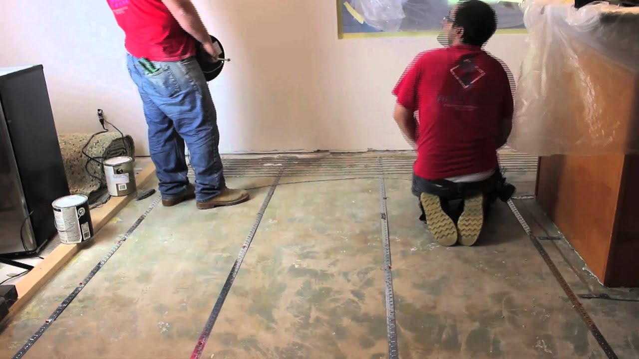 How to install wire floor heat on concrete with pro level youtube dailygadgetfo Choice Image