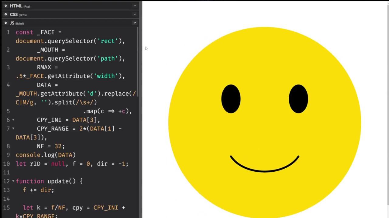 SVG + no library JS face morph