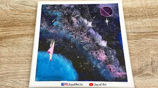 Purple Planet Galaxy | Easy Art | Acrylic Painting on Canvas for Beginners | Joy of Art #58