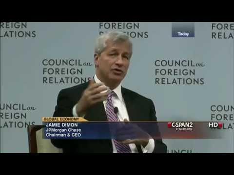Jamie Dimon: Global Economy. Education, Compensation, JP Morgan (2012)