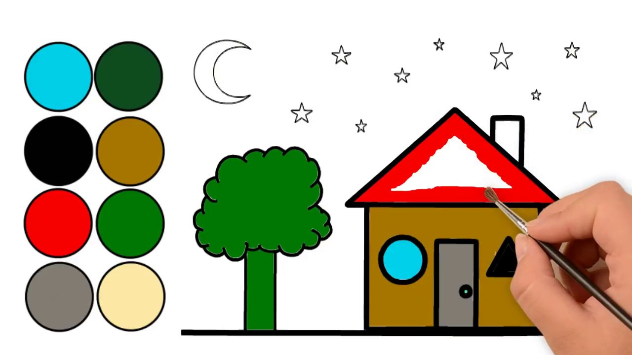 House Coloring Page   How to Draw And Color A House Easily Step By ...