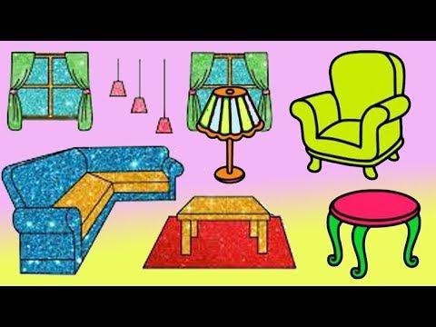 رسم وتلوين غرفة المعيشة تلوين اثاث المنزل رسم غرفة للاطفال رائع