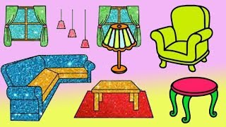 رسم وتلوين غرفة المعيشة تلوين اثاث المنزل رسم غرفة للاطفال رائع تعلم الرسم والتلوين للأطفال Youtube