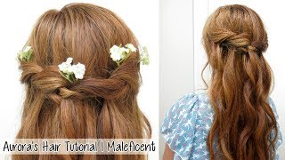 Princess Aurora Twisted Hairstyle from Disney's Maleficient l Waterfall Braid Twist Hair Tutorial