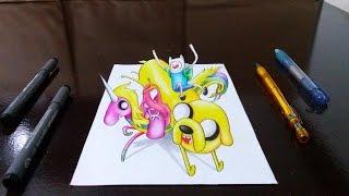 Desenhando a Hora de Aventura em 3D - Drawing Adventure Time in 3D