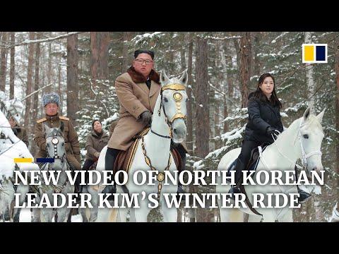North Korean state TV airs video of leader Kim Jong-un on snowy horseback ride