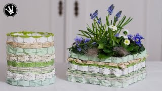 DIY - Frühlingsdeko   Osterdeko   Korb aus Draht, Bändern und Stoff selber machen   Windlicht
