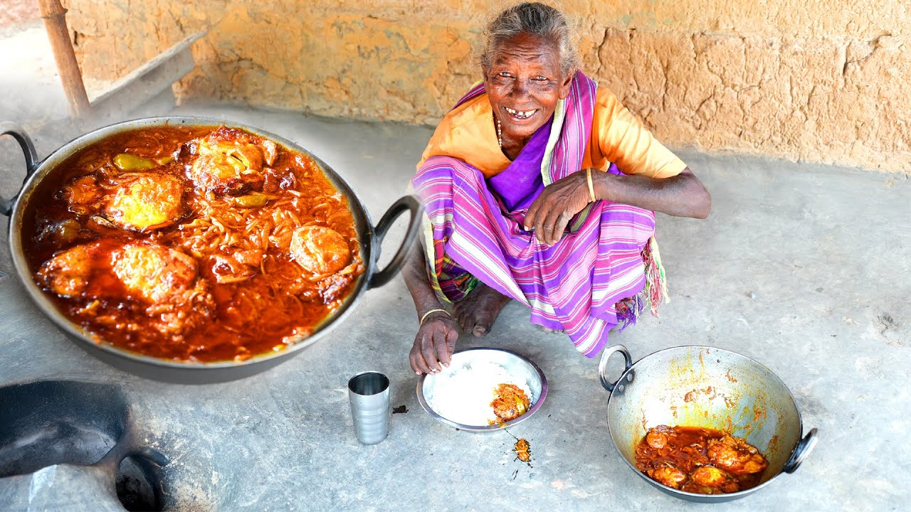 Egg Omelette Poched Curry cooking by tribal village grandmothers   Anda curry delicious cooking