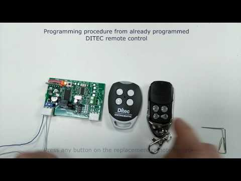 DITEC replacement remote programming procedure by using existing already programmed Ditec remote.