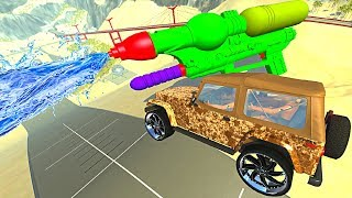 BeamNG.drive - Dirty Cars Jumping through Water (Giant Water Gun)
