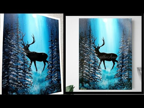 How to paint deer | misty Forest  | Moon Light Night painting | Acrylic Painting on Canvas Tutorial