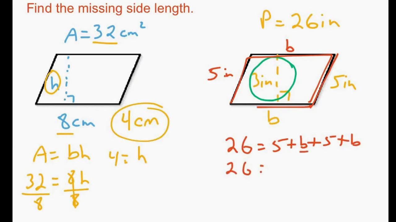 Finding Missing Side Lengths Of 2dimensional Shapes Given Area Or Perimeter