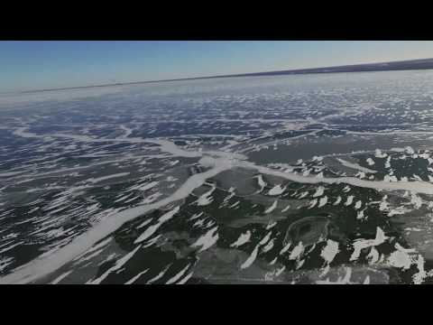 Drone View of Saginaw Bay Ice Conditions Linwood MI 1-21-2019 attn ice fishermen