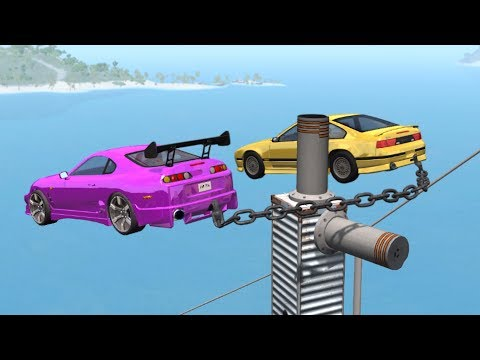 Beamng drive - Double Air bollard Chained cars Crashes
