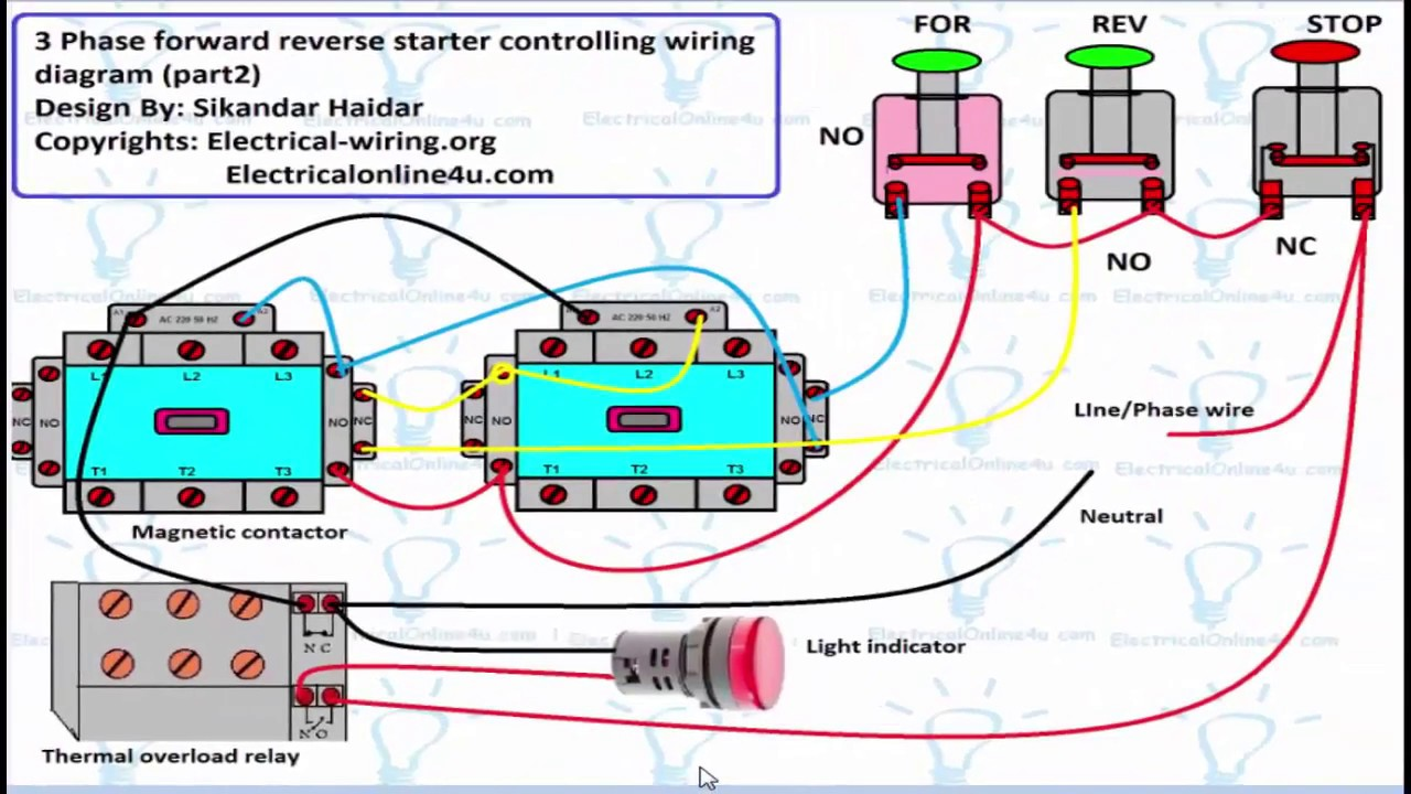 reverse forward motor control circuit diagram for 3 phase hindi urdu  [ 1280 x 720 Pixel ]