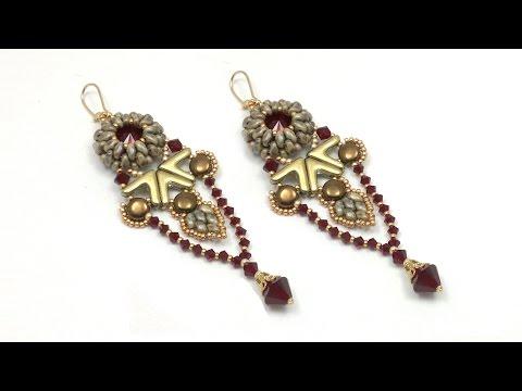 Beading4perfecftionists : Yanara earrings (Egyptian / Art Deco style) beading tutorial