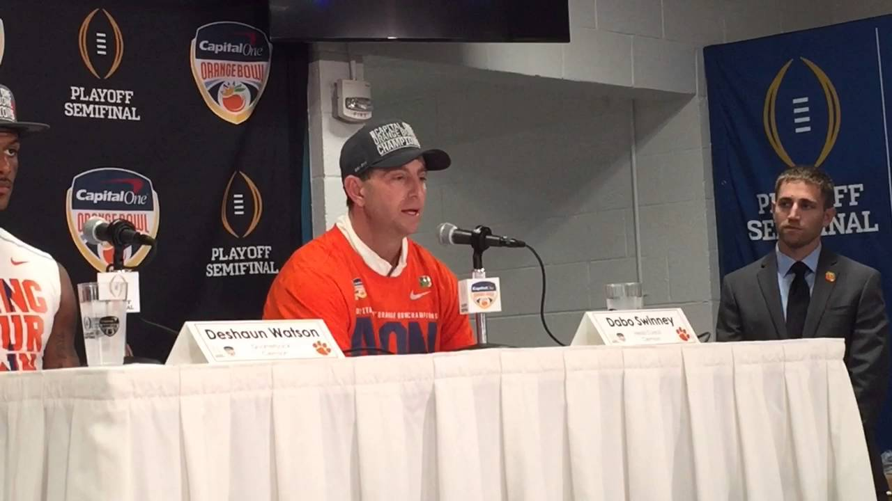 Clemson coach Dabo Swinney speaks after Orange Bowl win ...