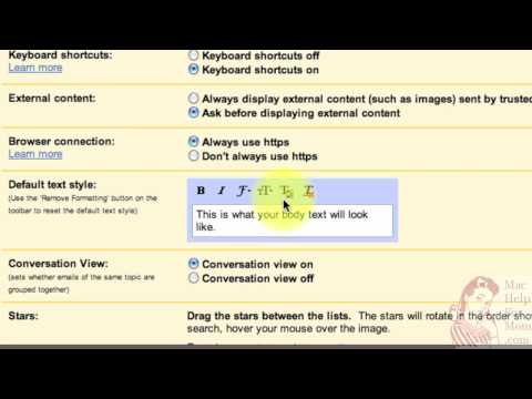 How to set a default text style in Gmail