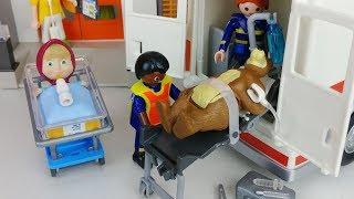 Masha and Bear Playmobil Ambulance hospital car toys doctor play 마샤와 곰 플레이모빌 구급차 의사 병원놀이 자동차 장난감-토이몽