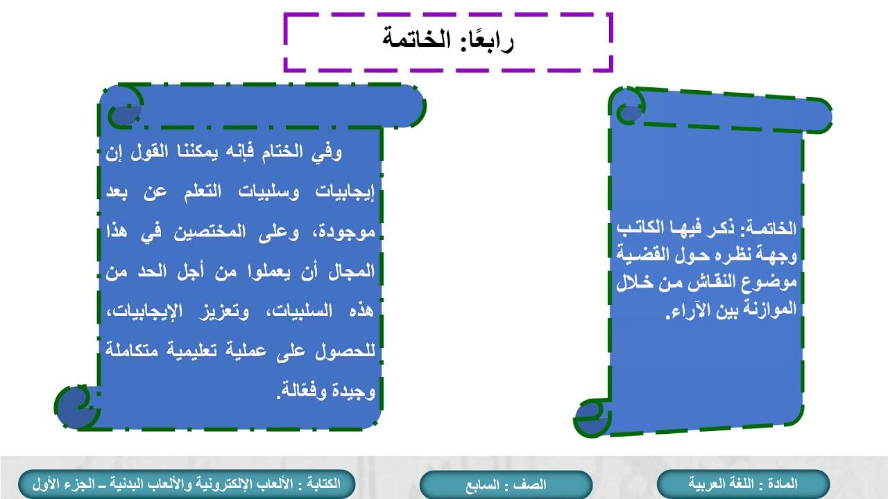 الصف السابع اللغة العربية الألعاب الإلكترونية والألعاب البدنية ج1 Youtube