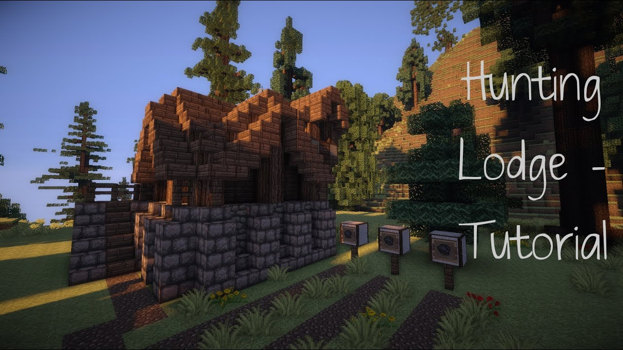 Minecraft Hunting Lodge Tutorial Youtube