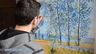 Monet - Under the Poplars, Sunlight Effect   Art Reproduction Oil Painting