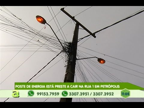 Poste de Energia está preste a Cair na rua 1 em Petrópolis