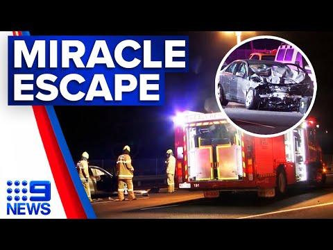 Three injured in Eastern Freeway crash | 9 News Australia thumbnail