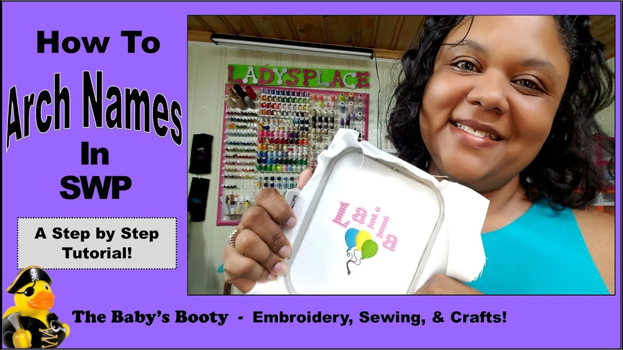 How to Arch Name for Embroidery with Sew What Pro! Curve text is easy!