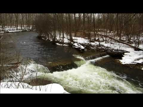 🍃Winter Waterfall Roaring While Snow Falls - 1 Hour