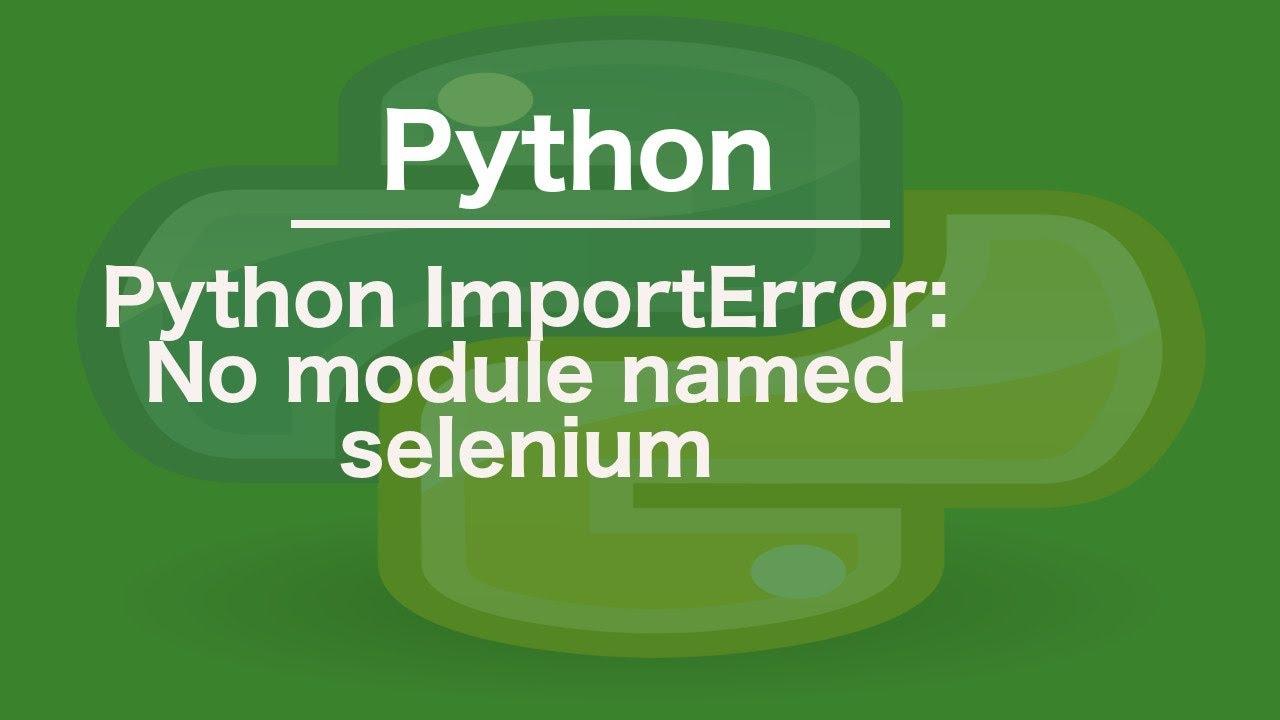 python ImportError: No module named selenium