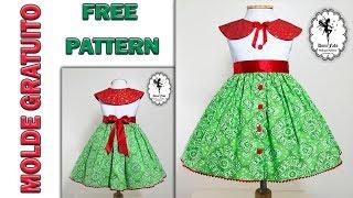 Vestido Cores do Natal 4 anos – Molde Gratuito Dona Fada