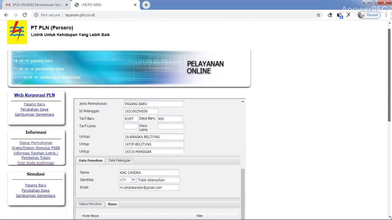 Cara cek status permohonan online pemasangan KWH baru di ...
