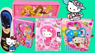 Hello Kitty Diary with Lock, Disney Princess lovely Pencil Box, Batman Pencil Case  for Boys !