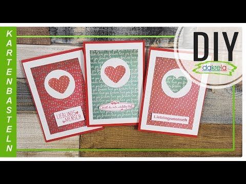3 EASY Grußkarten Valentinstag mit Designpapier basteln - Kartenbasteln DIY [Anleitung | deutsch]
