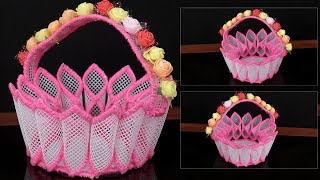 Easy Decorative Basket   DIY Net Fabric Basket   How to make Decoration Basket at Home