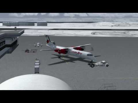 Bombardier Dash 8-Q400 Iqaluit (CYFB) to Nuuk (BGGH) P3D v3.4