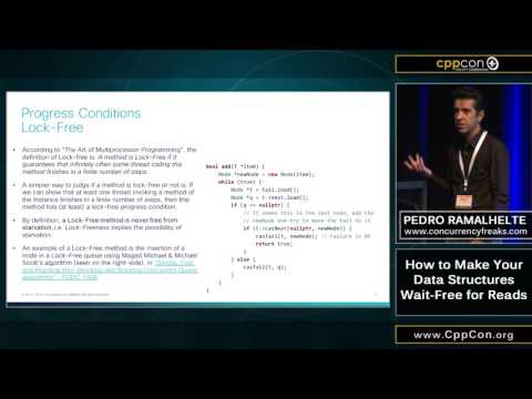 "CppCon 2015: Pedro Ramalhete ""How to make your data structures wait-free for reads"""
